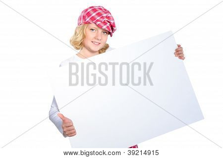 Smiling Girl Makes Thumbs Up Sign While Holding White Cardboard  Isolated Over White Background