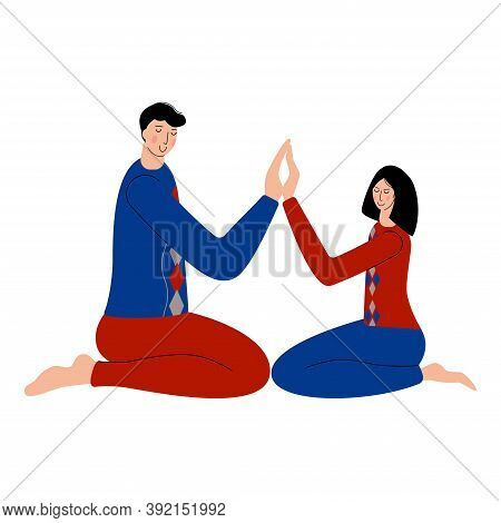 Man And Women Meditate Together. A Cuple Spend Time With Each Other And Meditate To Feel More Relaxe