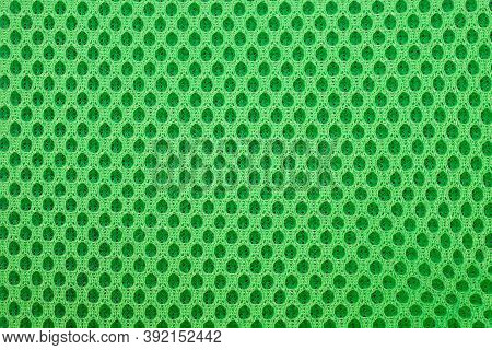 Green Special Textile Mesh Background. Polyester Mesh With Foam Rubber For The Manufacture Of Backpa