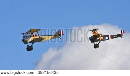 Ickwell, Bedfordshire, England - September 06, 2020: Vintage 1916  Sopwith Pup  And Sopwith Triplane