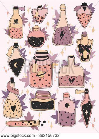 Set Of Colorful Magic Cartoon Bottles And Love Potions. Vector Illustration. Magic Elixir Hand Drawn