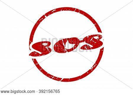 Sos Sign. Sos Round Vintage Grunge Stamp. Sos