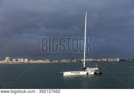 Les Sables D'olonne, France - October 29, 2020: Giancarlo Pedote Boat (prysmian Group) In The Bay Fo