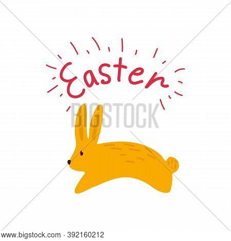 Cartoon Bouncing Easter Bunnies. Cute Yellow Rabbit In With The Inscription Easter Spring Illustrati