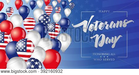 Happy Veterans Day Usa Creative Banner. Isolated Abstract Graphic Design Template. Honoring All Who