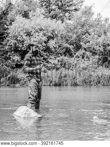 Man Bearded Fisherman. Fisherman Fishing Equipment. River Lake Lagoon Pond. Trout Farm. Fisherman Al