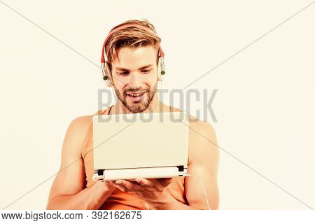 Leisure And Fun. Guy With Headphones And Laptop. Student Life. Online Entertainment. Education Oppor