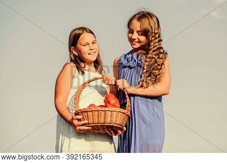 Girls Happy Smiling Child Living Healthy Life. Healthy Lifestyle. Kids Hold Vegetables Sky Backgroun