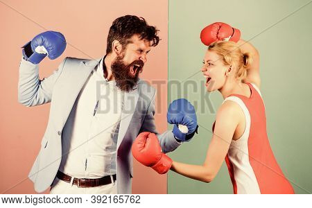 Family Couple Boxing Gloves. Problems In Relationship. Sport. Bearded Man Hipster Fighting With Woma