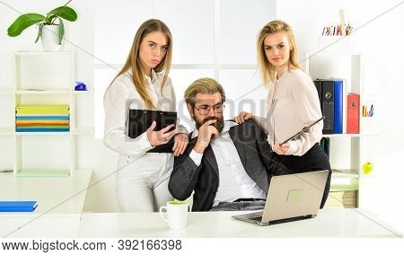 Flirting With Boss. Secretary And Manager. Office Affair. Surrounded By Beautiful Ladies. Seductive