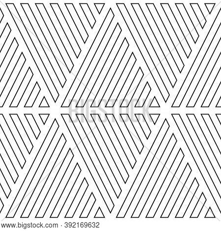 Black Hollow Diagonal Lines On White Background. Seamless Surface Pattern Design With Linear Ornamen