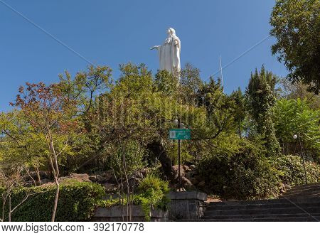 Virgin Mary Statue On Top Of San Cristobal Hill, Santiago, Chile