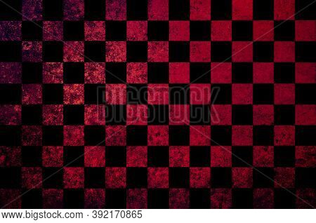 Red Brown Black Checkered Background With Blur, Gradient And Grunge Texture. Space For Graphic Desig