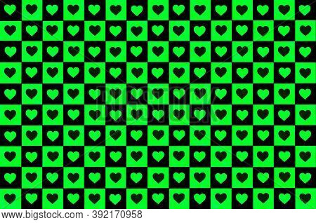 Bright Green Black Checkered Background With Hearts. Checkered Texture. Space For Graphic Design And