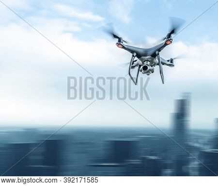 A Modern Drone In The Sky Over A Large City. Motion Effect.