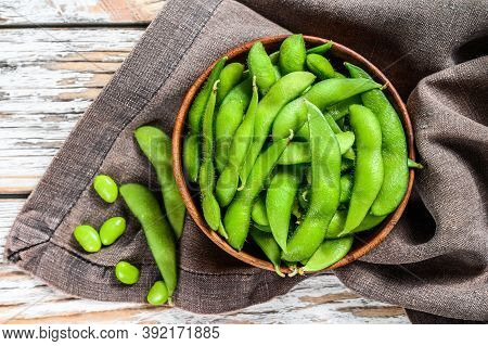 Boiled Edamame Beans In A Pan. White Background. Top View