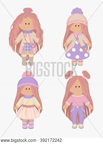 Collection Of Four Little Cute Dolls Wearing Pink, Purple And Beige Clothes. Baby Vector Illustratio