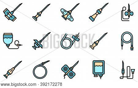 Catheter Icons Set. Outline Set Of Catheter Vector Icons Thin Line Color Flat On White