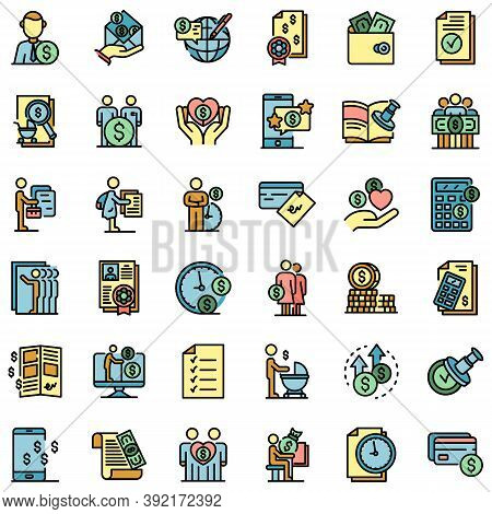 Allowance Icons Set. Outline Set Of Allowance Vector Icons Thin Line Color Flat On White
