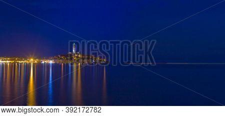Panoramic View of Croatian Town Rovinj at Night