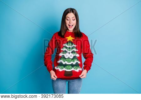 Photo Portrait Of Surprised Girl Pulling Ugly Christmas Sweater With Hands Smiling Looking Down Isol