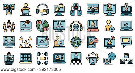 Online Meeting Icons Set. Outline Set Of Online Meeting Vector Icons Thin Line Color Flat On White