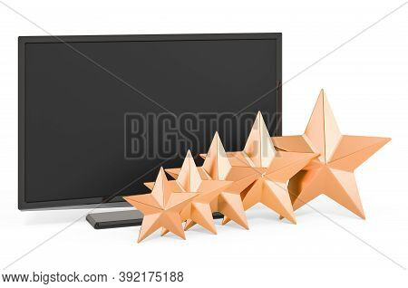 Customer Rating Of Tv Set, 3d Rendering Isolated On White Background