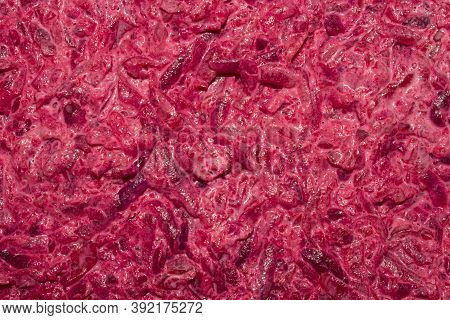 Grated Beetroot With Garlic And Mayonnaise.background Of The Grated Beetroot.