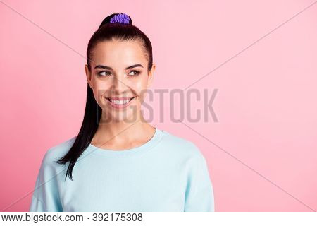 Photo Of Cute Lady Good Mood Look Side Empty Space Wear Sweatshirt Pullover Isolated Pink Color Back