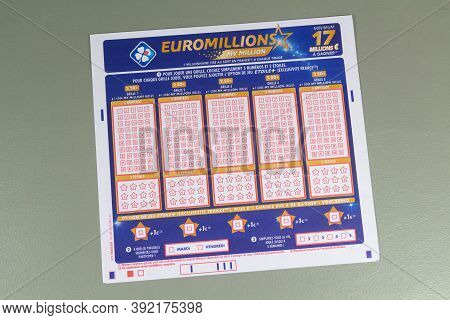 Primelin - France, January 22, 2020 : French Grid Of Euromillion From The Society La Francaise Des J