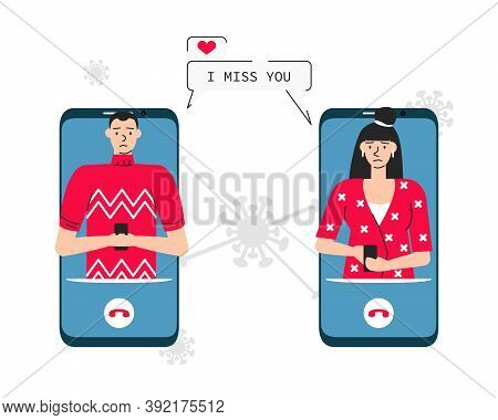 Vector Illustration Of Sad Couple Are Separated For Coronavirus. Beloved Young Woman And Man Are In