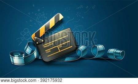 Online cinema art movie poster design with clapper and film-strip reel tape. Cinematography concept. 3D illustration.