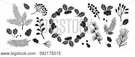 Christmas Vector Black Decor Elements. Wreath, Holly Berry, Winter Plants, Christmas Tree, Pine, Lea