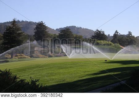 This Is An Image Of Irrigation Of A California Golf Course Fairway.