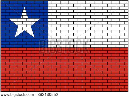 Chile Flag On Brick Wall Background, Vector Illustration