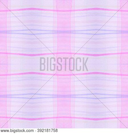 Kids Pajama Pattern. Wool Seamless Plaid Border. Watercolor Stripes For Man Print. Pink Girl Pajama