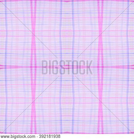 Pastel Pajama Pattern. Retro Seamless Tartan Material. Watercolour Squares For Tweed Print. Girl Ele