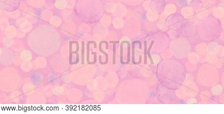 Seamless Feminine Template. Watercolor Valentine Background. Blurred Polka Drops. Grunge Radial Bann