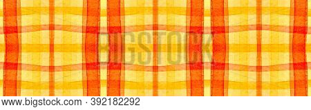Orange Tartan Background. Watercolour Check Blanket. Irish Geometric Stripes For Tile Print. Seamles