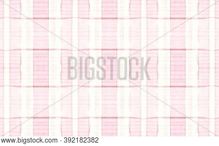 Pastel Pajama Pattern. Retro Seamless Plaid Repeat. Watercolour Squares For Kilt Design. White Girl