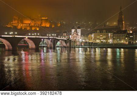 Heidelberg, Snowy Night City View By The River Rhein, Karl Theodor Bridge, Germany, Europe