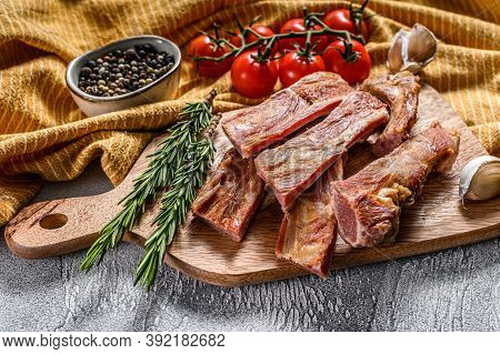 Smoked Roasted Pork Ribs. Barbeque Ribs. Bbq Food. White Background. Top View