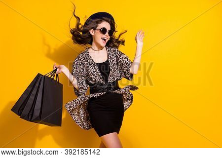 Photo Of Amazed Excited Girl Shopping Center Client Hold Bags Impressed Her Way Hair Air Wind Blow W