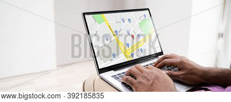 Online Gps Location Map Search On Laptop Computer