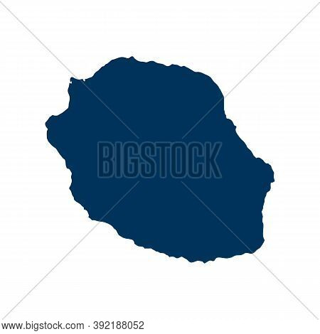 Outline Map Of Reunion. Isolated Vector Illustration. Easy To Edit