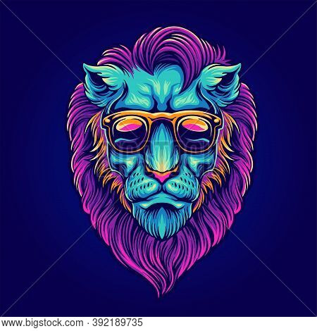 Head Lion Portrait With Sunglasses Psychedelic For Your Work Merchandise Clothing Line, Stickers And