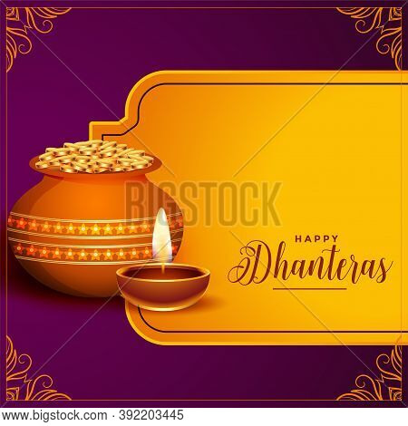 Indian Style Happy Dhanteras Festival Background Design