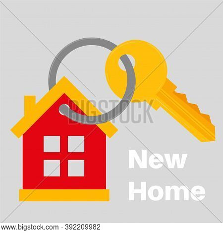 New Home House Key Icon Vector Illustration. Real Estate Icon Fully Editable Text