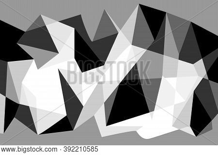 Illustration Graphic Background. Colorful Black, White, Grey Color Geometric Rumpled Triangular Low