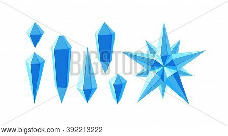 Crystal Gemstones And Star. Set Of Ice Crystal Star And Separate Frozen Gems Various Shapes. Vector